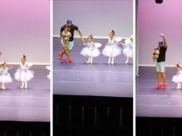 Супер-папа выбежал на сцену и исполнил танец лебедят, чтобы помочь растерявшейся дочери