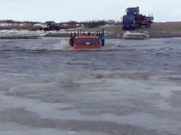Отчаявшись они решили пересечь реку на КАМАЗах