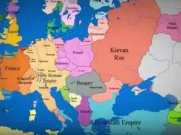 1 000 лет за 3 минуты! Как менялись границы государств на карте Европе!