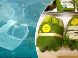 Тайский супермаркет заворачивает покупки в банановые листы — вместо пластика