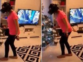Им явно не стоило толкать девушку во время игры в очках виртуальной реальности